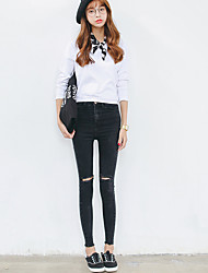 Women's Solid Black Jeans Pants,Simple