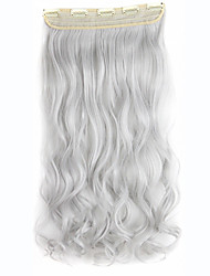5Clips Synthetic Braiding Hairpieces Clip In Curly Wavy Weave Hair Extensions Silver Gray