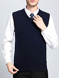 Men's Solid Casual Pullover,Cotton / Polyester Long Sleeve Blue