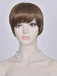 Fashion Brown Short Wig European and American Straight Wigs Women Short Synthetic Wigs