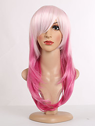 Rose Pink Ombre Color Long Straight Wigs Capless Synthetic Wigs For Women