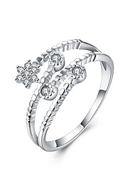 Fine Sterling Silver Five-star Diamond Statement Ring for Women Wedding Party