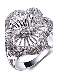Women's See Through Hollow Flower Design Cocktail Rings Platinum & Gold White Contrast Color Cubic Zirconia Pave Setting