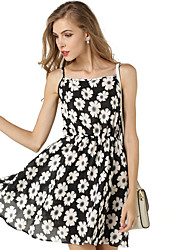 Women's Floral Chiffon Strap Dress