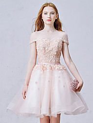 Cocktail Party Dress - Lace-up Ball Gown Jewel Short / Mini Organza with Beading Flower(s) Sash / Ribbon