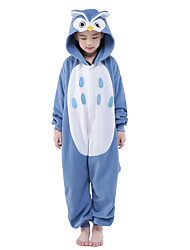 Kigurumi Pajamas New Cosplay® Owl Leotard/Onesie Festival/Holiday Animal Sleepwear Halloween Blue Patchwork Velvet Mink Kigurumi For Kid