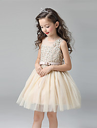 A-line Short / Mini Flower Girl Dress - Cotton Satin Tulle Jewel with Bow(s) Lace