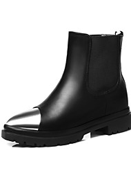 Women's Boots Fall / Winter Motorcycle Boots / Pointed Toe  Outdoor / Dress / Casual Flat Heel Gore / Slip-on (Leather)