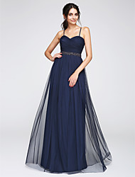 TS Couture Prom Formal Evening Dress - Open Back A-line Spaghetti Straps Floor-length Tulle with Beading Criss Cross