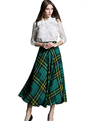 YIMILAN® Women's The New Fashion in The Joker Long Plaid Skirts The a-Line Skirt