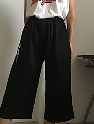 Women's Print Black Chinos Pants,Simple