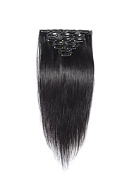 9pcs/set Malaysian Clip in Hair Extensions Malaysian Straight Virgin Hair Clip in Human Hair Extensions #1B