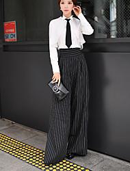 solide / pantalon à jambes larges rayures, vintage / rue de dabuwawa femmes chic et / sophistiquée