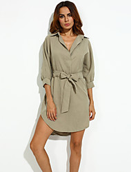 Women's Party/Cocktail Street chic Loose Dress,Solid Stand Above Knee Long Sleeve Red / Gray / Green Polyester Summer