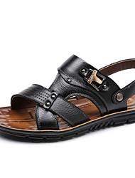 Men's Sandals Summer Open Toe / Sandals Leather Casual Flat Heel Others Black / Brown / Khaki Walking
