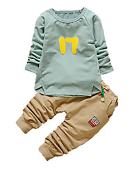 Boy's Casual/Daily Print Clothing SetCotton Fall Blue / Green / White / Gray