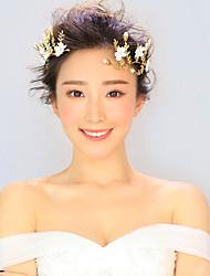 Bride's Leaves Shape Pearl Rhinestone Hair Wedding Accessories Headbands 1 Piece