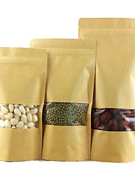 Window Kraft Paper Bags Kraft Paper Bags Ziplock Bags Of Food Self-Reliance Bags Of Nuts A Pack Of Ten 9*14*3