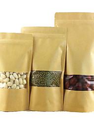 sacos de papel kraft janela kraft sacos de papel ziplock sacos de comida sacos de auto-suficiência de nozes um pacote de dez 9 * 14 * 3