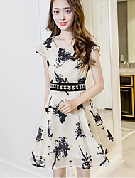 Women's Casual/Daily Cute A Line Dress,Print U Neck Above Knee Short Sleeve White Rayon Summer