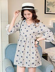 Women's Going out Cute Loose Dress,Print V Neck Above Knee ¾ Sleeve Gray Cotton / Linen Summer
