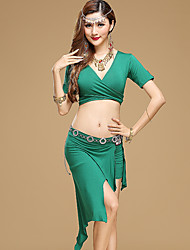 Belly Dance Outfits Women's Performance Modal  2 Pcs Black / Dark Green / Light Purple / Orange / Burgundy Top / Skirt