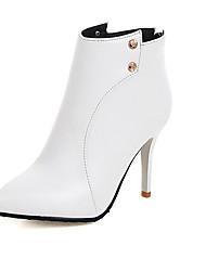 Calçados Femininos-Botas-Bico Fino / Botas da Moda-Salto Agulha-Preto / Vermelho / Branco-Courino-Casamento / Escritório & Trabalho /