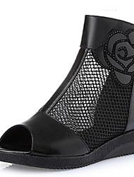 Damen-Sandalen-Lässig-Leder-Keilabsatz-Sandalen / Vorne offener Schuh-Schwarz
