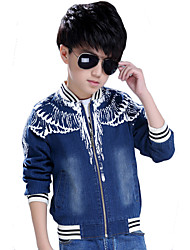 Boy's Cotton Spring/Autumn Fashion Cartoon Print Cowboy Outerwear Baseball Long Sleeve Sport Denim Jacket Coat