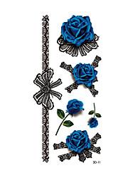 1pc Women Waterproof Temporary Tattoo Simulation Body Art Blue Enchantress Rose Black Rose 3D-11