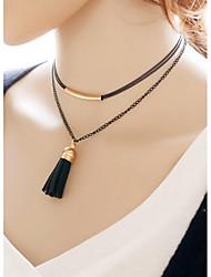 Femme Collier court /Ras-du-cou Collier multi rangs Cuir Alliage Mode Multicouches Noir Bijoux Pour Quotidien Décontracté 1pc
