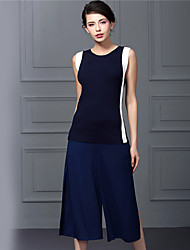 Baoyan® Women's Round Neck Sleeveless Tea-length Jumpsuit-888049 suit