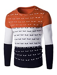 Pullover Pour des hommes Mosaïque Décontracté Laine Manches longues Orange / Rouge