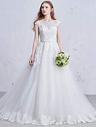 Princess Wedding Dress Lacy Look Court Train Square Tulle with Sequin Appliques Bow Lace Pearl Sash / Ribbon