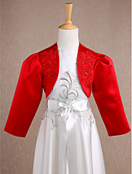 Kids' Wraps Shrugs Long Sleeve Satin Red Wedding / Party/Evening Wide collar Appliques Open Front