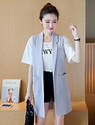 Women's Work Simple Fall Blazer,Solid V Neck Sleeveless Black / Gray Cotton / Polyester Medium