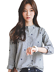 Spring/Fall Go out Casual Women's Shirt Stand Collar Long Sleeve Leaves Embroidered Striped Blouse Tops