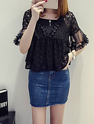 Women's Going out / Casual/Daily Cute Spring / Summer Blouse,Solid Strapless ½ Length Sleeve Acrylic Thin