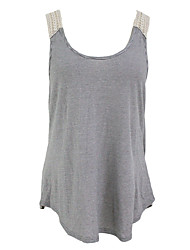 Women's Scoop Neck Lace Splicing Striped Tank Top