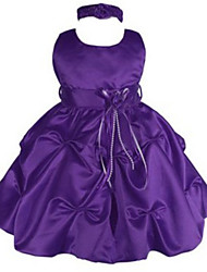 Ball Gown Tea-length Flower Girl Dress - Jersey Jewel with Appliques Bow(s) Pick Up Skirt