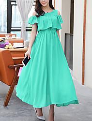 Mulheres Swing Vestido,Casual Simples Sólido Decote Redondo Médio Manga Curta Azul / Rosa / Branco / Preto / Verde Raiom Verão