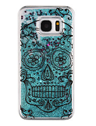 Skull Pattern Flowing Quicksand Liquid Glitter Plastic PC For Samsung Galaxy S7 edge Galaxy S7