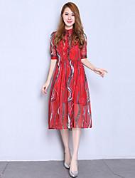Mulheres Rodado Vestido,Festa/Coquetel Sofisticado Estampado Colarinho de Camisa Altura dos Joelhos Manga ¾ Vermelho Seda Verão