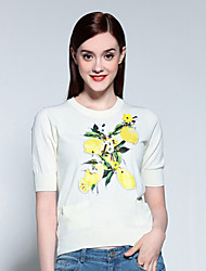 Yan María& yu mujeres que salen de sofisticada suéter regular, el cuello floral de color rojo / blanco redondo de algodón ½ longitud de la manga