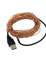 USB 5m impermeabile flessibile verde 3W 50-0603 smd corda leggera - argento (12V DC)