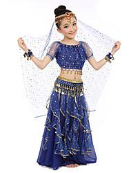 Danza del Vientre Accesorios Niños Representación Gasa Satén Poliéster Monedas de oro 7 Piezas Mangas cortas Cintura MediaTop Falda