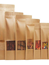 Kraft Paper Bags Of High-Grade Thick Windows Standing Bone Visual Self-Styled  Food Bags Trumpet A Ten Pack