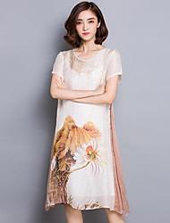 Women's Plus Size Vintage A Line Dress,Print Round Neck Knee-length Short Sleeve Black / Brown Silk Summer