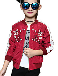 Girl's Cotton Spring/Autumn Fashion Embroidered Flower Patchwork Long Sleeve Baseball Sports Casual/Daily Clothes