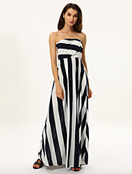 Women's Beach A Line Dress,Striped Deep V Maxi Sleeveless Multi-color Cotton / Polyester Spring / Summer / Fall / Winter